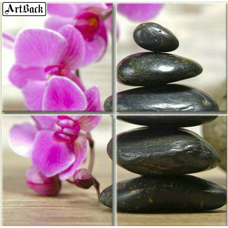 Square/round 5d diamond painting flower cobblestone mosaic orchid landscape embroidery crafts sticker