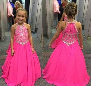 Милое Пышное Платье фуксии для девочек, праздничное платье принцессы с бисером и кристаллами, красивое платье с цветочным узором для малень...