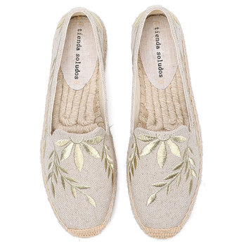 2020 Hot Sale Real Flat Platform Hemp Rubber Slip-on Casual Floral Zapatillas Mujer Sapatos Womens Espadrilles Shoes - discount item  29% OFF Women's Shoes