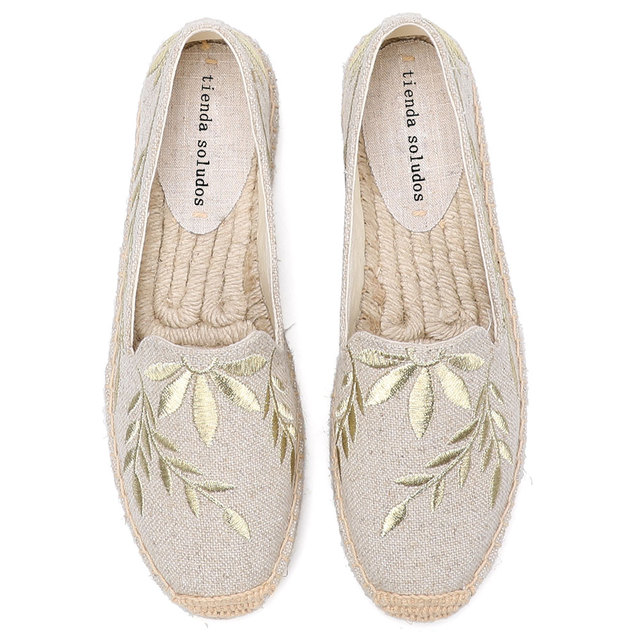 2020 Hot Sale Real Flat Platform Hemp Rubber Slip on Casual Floral Zapatillas Mujer Sapatos Womens Espadrilles Flat Shoes