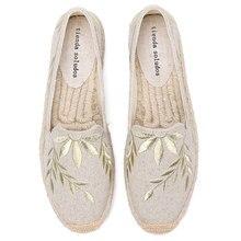 2020 sıcak satış gerçek düz Platform kenevir kauçuk Slip on Casual çiçek Zapatillas Mujer Sapatos bayan Espadrilles düz ayakkabı