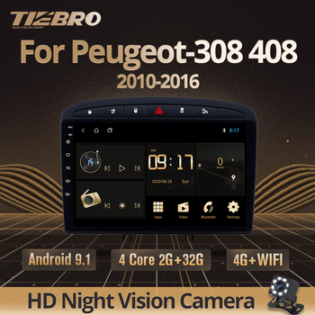 TIEBRO 2DIN Android 9.0 Car Radio For Peugeot-308 408 2010-2016 Car Multimedia Player Head Unit Navigation Autoradio DVD Player image