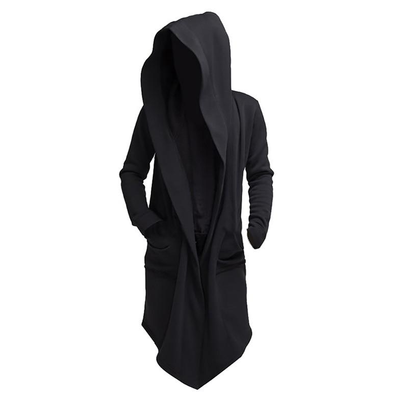 Litthing 2019 Men Hooded Sweatshirts Black Hip Hop Mantle Hoodies Fashion Jacket long Sleeves Cloak Man's Coats Outwear Hot Sale