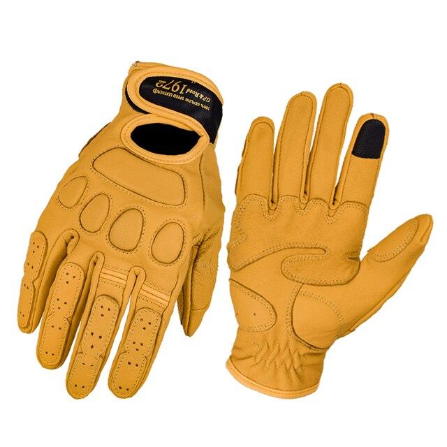 Dain Echtem Leder Motorrad Handschuhe Männer Vintage Motorrad Voll Finger Handschuhe Retro Biker Touchscreen Moto Schutz Handschuh