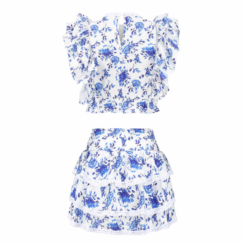 Chất Lượng Cao 2020 Chủ Nhật Bộ Thun Crop Top Với Xù Chi Tiết Và Dễ Thương Xù Mini Short Váy