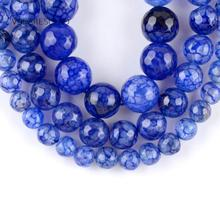 Natural Blue Faceted Dragon Vein Agates Stone Round Loose Beads For Jewelry Making 6-10mm Spacer Beads Fit Diy Bracelets 15'' oval shape star stone corundum cabochon blue stone beads for jewelry making diy faceted blue stones