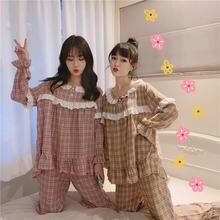 Клетчатая Пижама xifer Женская Осенняя Корейская милая и пижама
