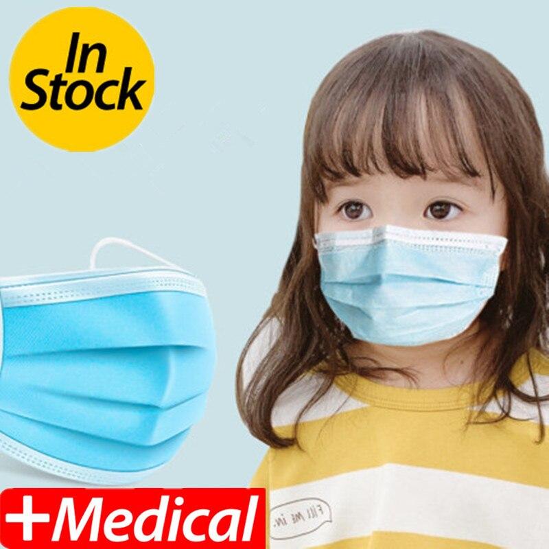 100PCSChildren's Mask Three-layer Mask Boy Girl Mask Anti-virus Mask Anti-bacterial Mask Anti-dust Mask Child Size Mask