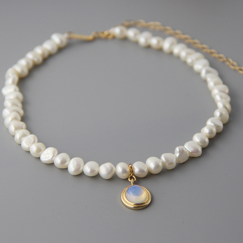 Image 4 - Silvology Natural Pearl Moonstone Womens Necklace 925 Sterling Silver Gold Elegant Luxurious Pendant Necklace Friendship Jewelry-in Necklaces from Jewelry & Accessories