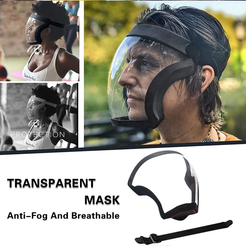 1PC Reusable Face Mouth Mask Transparent Washable Anti Fog Anti Dust Washable All Cover Face Shield For Adults Unisex TSLM1 1