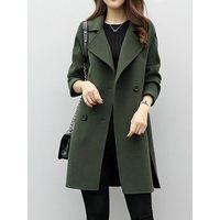 Women Woolen Trench Coats Feminino Black Green Casual Elegant Vintage Long Coats Autumn Winter Korean Style Female Tops Overcoat