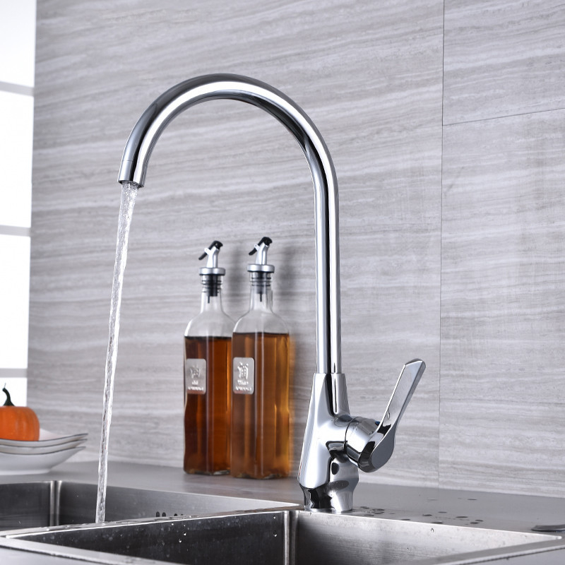Kitchen Faucet 360 Degree Swivel Spout Curved Outlet Pipe Tap Hot Cold Water Mixer Tap Single Handle Kitchen Sink Tap Hardware