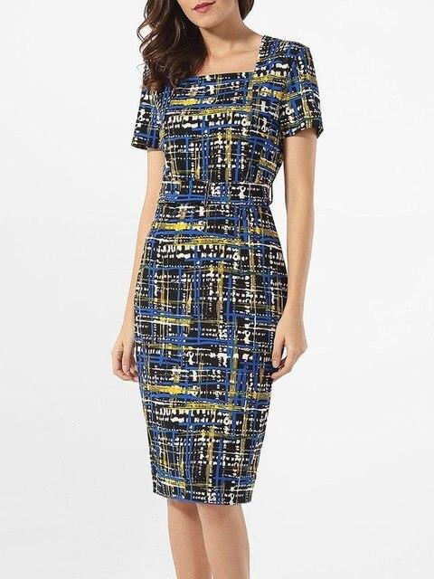 Women Short Sleeve Lady Plaid Print Pencil Dress Party Dresses Elegant Dinner Dress 4