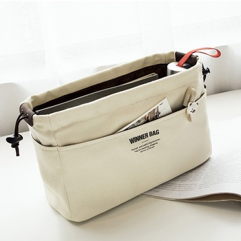 Canvas Purse Organizer and Insert Bag Organizer with Compartments and Pockets for Women