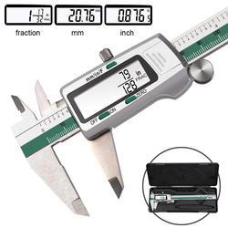 DANIU suwmiarka cyfrowa ze stali nierdzewnej 150mm 6 Cal es Cal/metryczne/frakcje konwersja 0.01mm rozdzielczość z pudełkiem