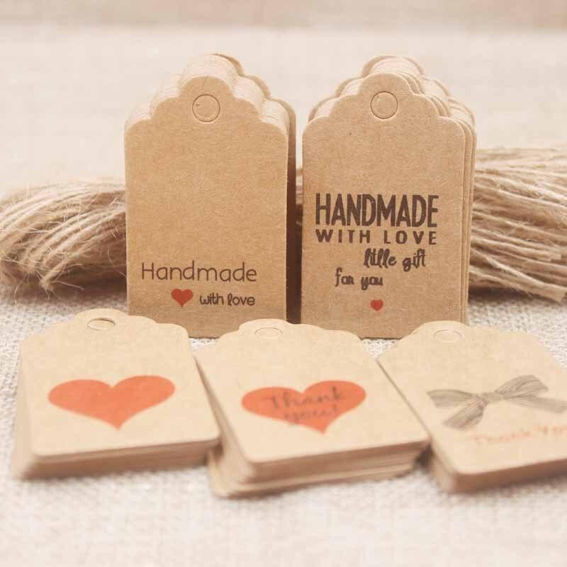 Kraft bricolage fait main cadeaux tag/coeur rouge merci tag pétoncle papier biscuits/artisanat/boulangerie/bonbons label100pc + 100 cordes