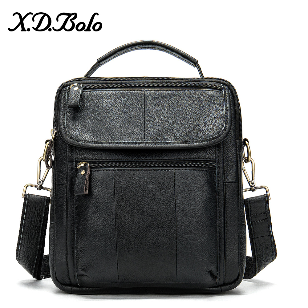 X.D.BOLO Leather Men's Bag Casual Crossbody Bags Genuine Leather Messenger Bag Zipper Shoulder Bags For Men Bolso Hombre