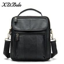 X.D.BOLO Leather Men's Bag Casual Crossbody Bags Genuine Leather Messenger Bag Zipper Shoulder Bags for Men Bolso Hombre