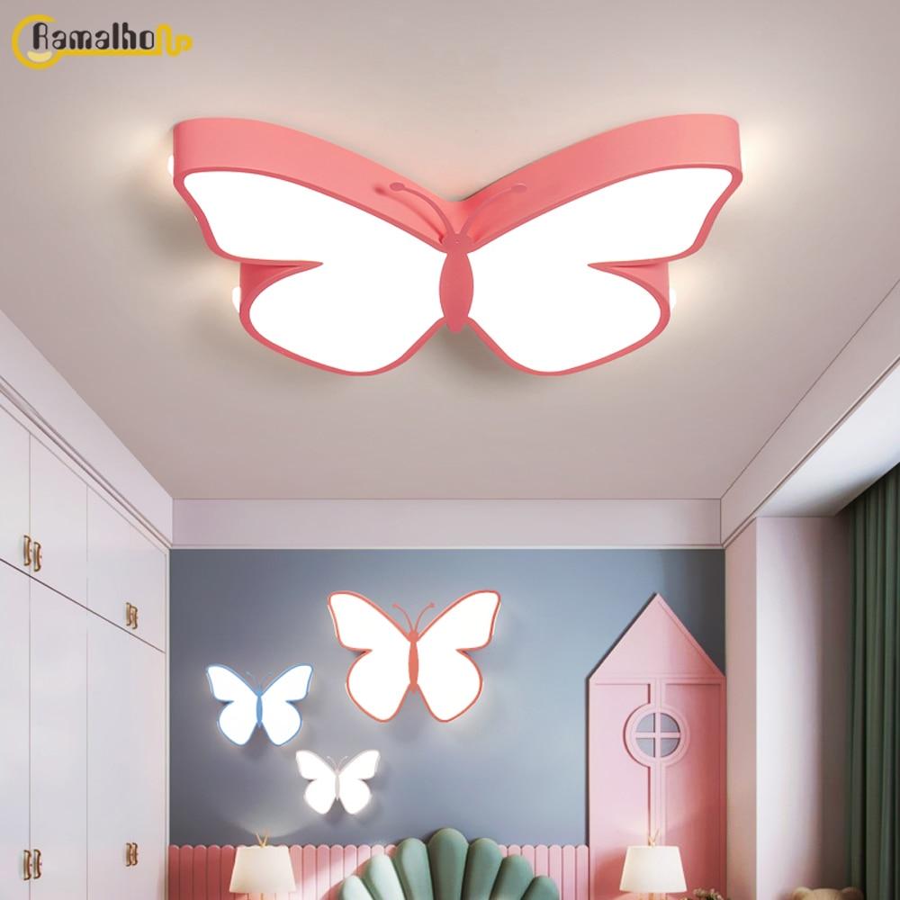 Лампа для комнаты принцессы, креативный светильник-бабочка, потолочный светильник для детской комнаты, мультяшная лампа для комнаты