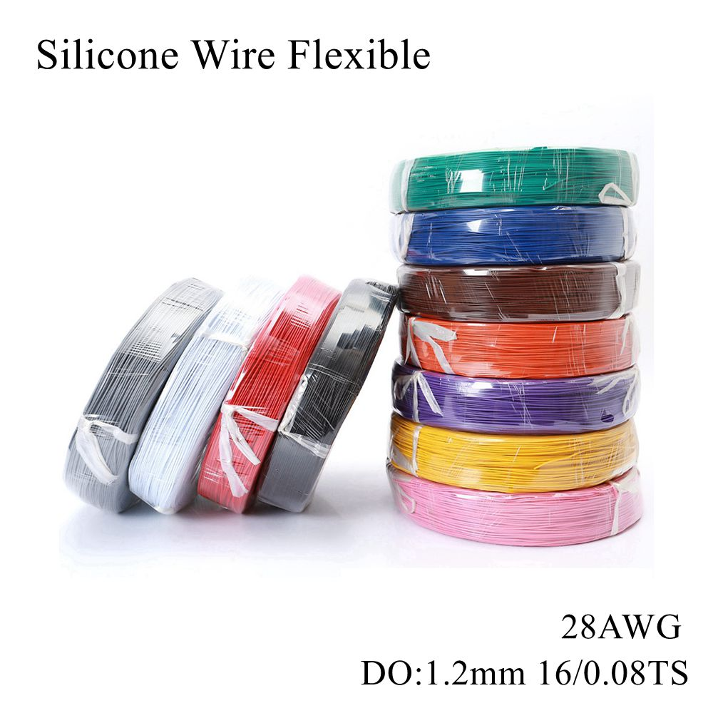 <font><b>28AWG</b></font> <font><b>Silicone</b></font> Wire Flexible Gauge Stranded Tinned Copper Electrical Cables Electronic Rubber Wires Soft Line Electric Wiring RC image