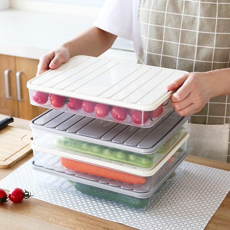 صندوق تخزين المواد الغذائية الثلاجة هش مختومة اكسسوارات المطبخ المنظم الخضار الفواكه تخزين الرف يمكن مكدسة صينية