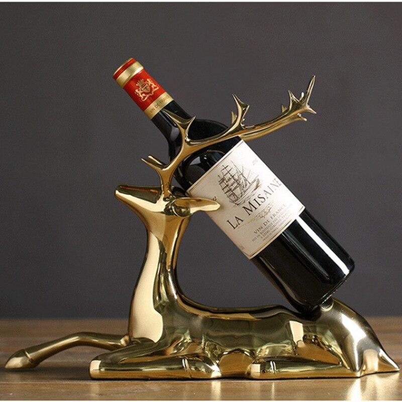 Creative élégant pur cuivre elk casier à vin style salon armoire à vin fer casier à vin décoration artisanat ornements créatifs - 3