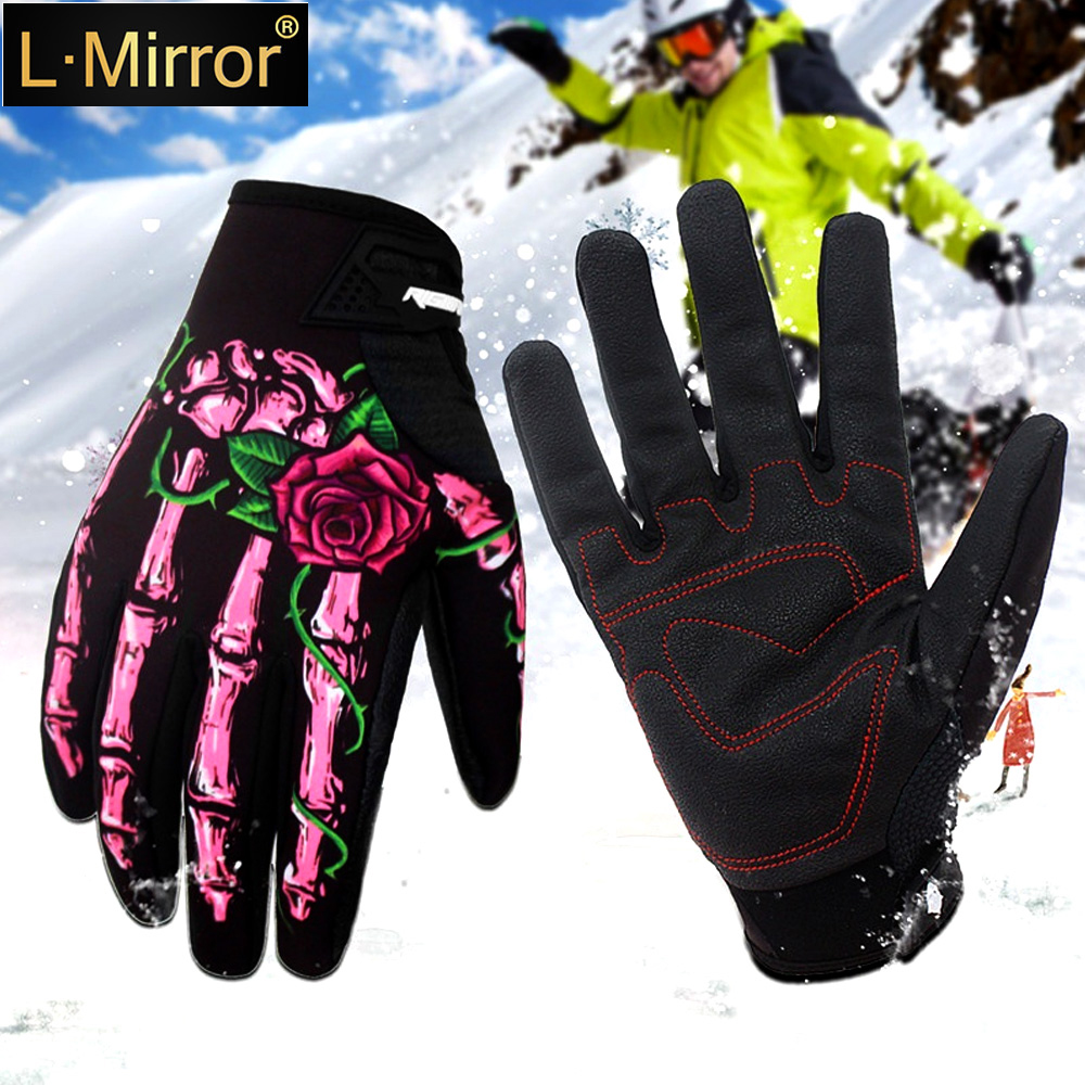 L.Mirror 1Pair Winter Outdoor Gloves Bike Gloves Riding Gloves Motorcycle Gloves Skull Windproof Full Finger Gloves Ghost Claws