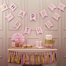 1Set Happy Birthday Banner Streamer Lovely Hang Pennants1st Boy GirlBaby Shower Supplies Garlands For Party