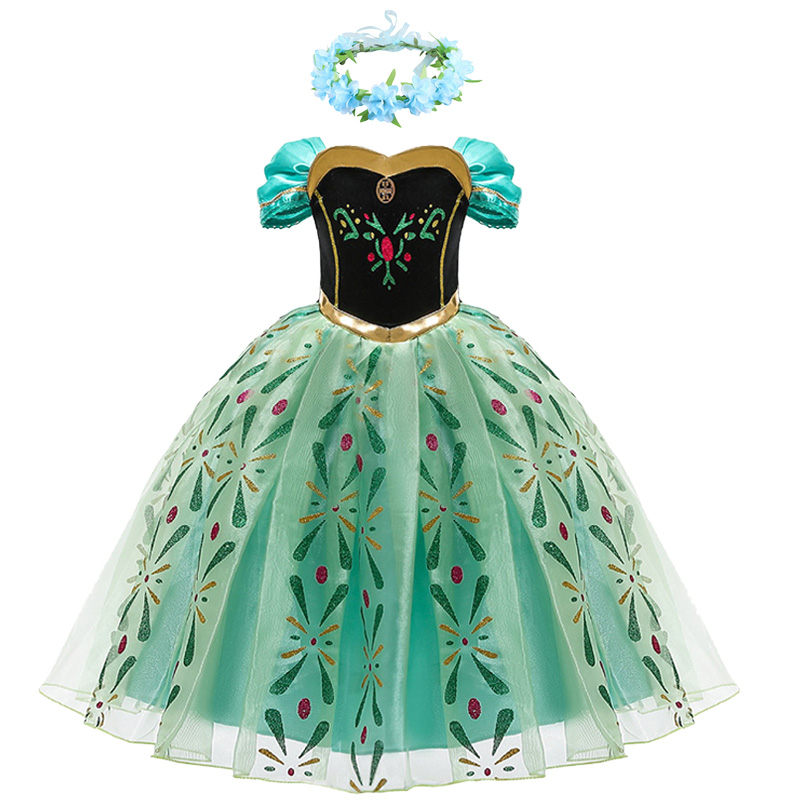Meninas anna princesa vestido flor crianças cosplay neve rainha traje crianças festa de aniversário peruca 3 4 5 6 7 8 9 10 anos de idade roupas