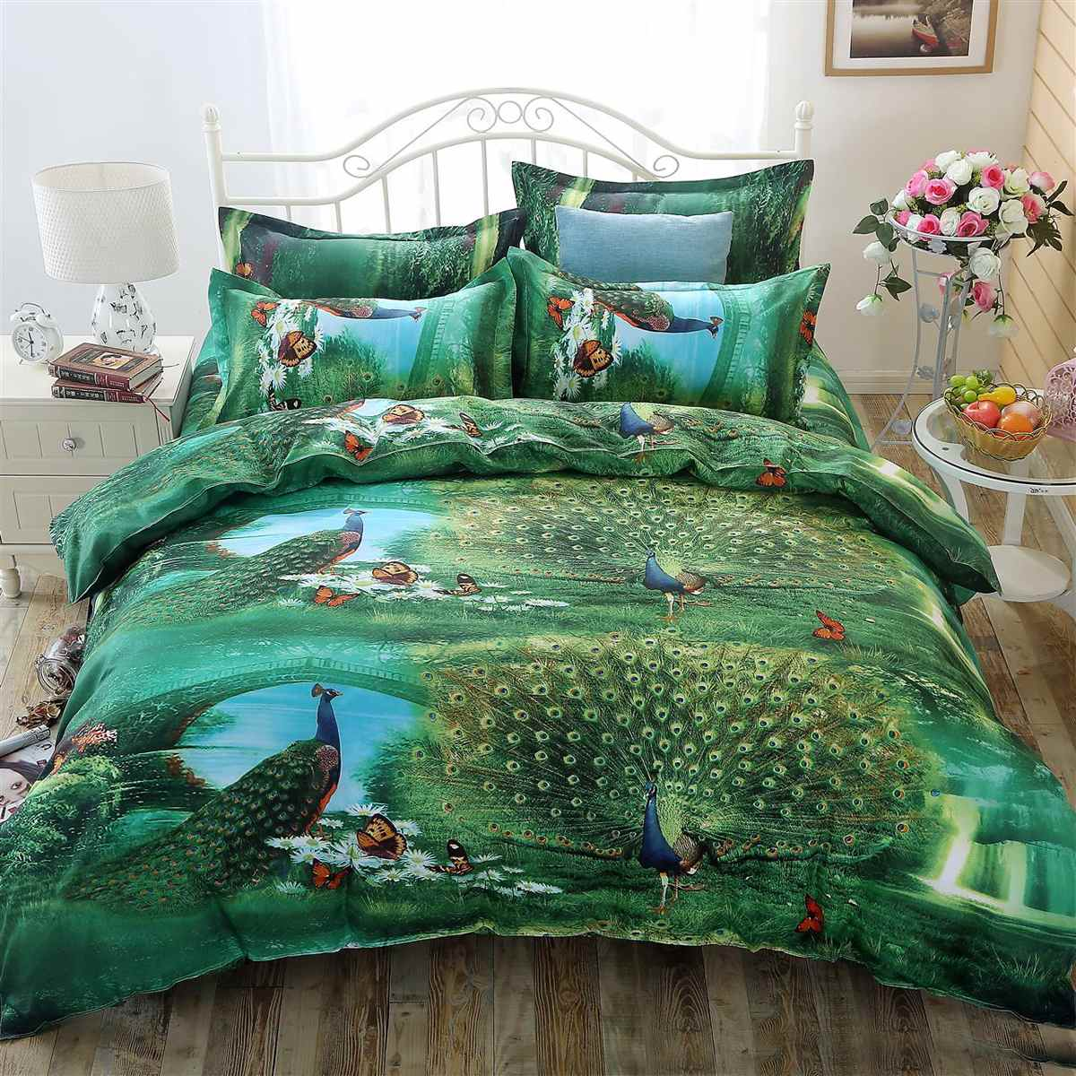 4pcs Bedding Set Luxury 3D Peacock Cotton Bedding Sets Bed Sheet Duvet Cover Pillowcase Cover Set King Queen Size Bedspread