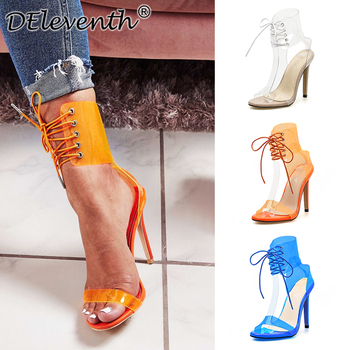 Europe and America 2019 high heel sandals with lace-up transparent film, sexy women's shoes with open toes and hollow toes 2018 new punk gothic genuine leather women lace up botas sandals lace up open toes sexy lady high heels club party dancing shoes