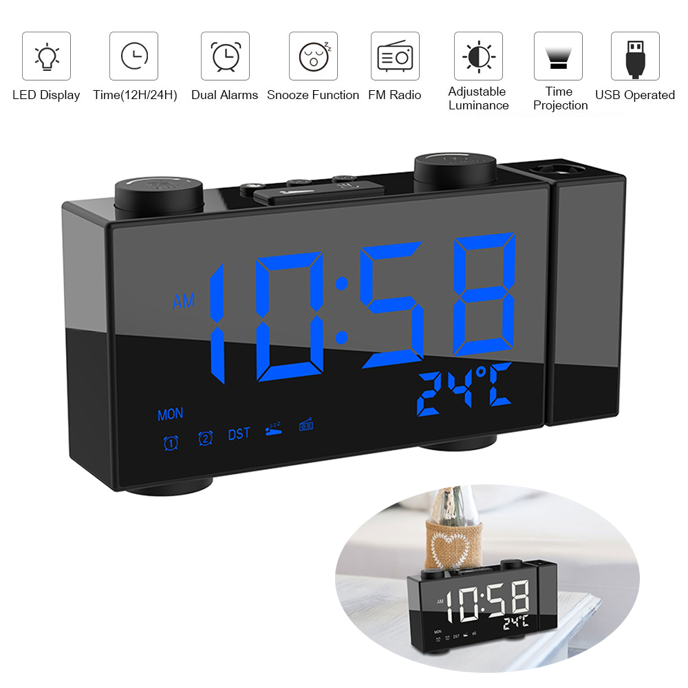 Digital FM Projection Radio Alarm Clock 3 Time Displays Dual Alarm Clock with Snooze Thermometer Clock USB/Batterys Powers-in Alarm Clocks from Home & Garden