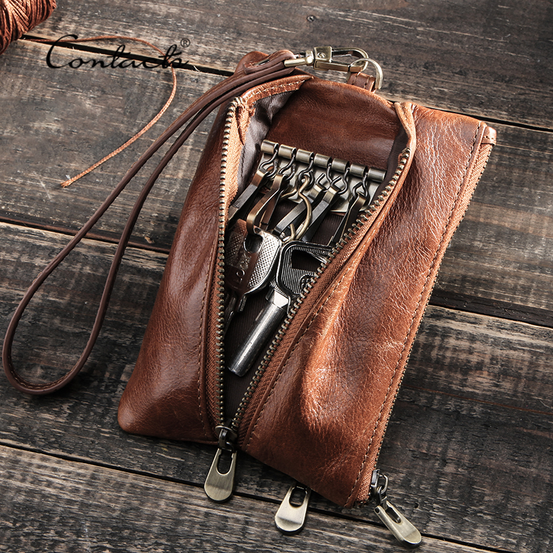 CONTACT'S Genuine Leather Key Ring Case Small Coin Purse Zipper Pocket Multifunction Car Key Chain Keys Organizer Housekeeper