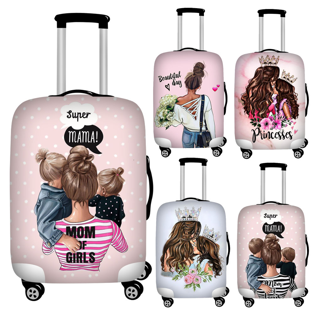 Twoheartsgirl Cute Super Mama Print Travel Luggage Covers Elastic 18-32inch Suitcase Dust Cover Baggage Protector Zipper Closure