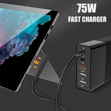 75W PD QC3.0 Mobile Phone Charger Accessories 4/5/6 Port Mul