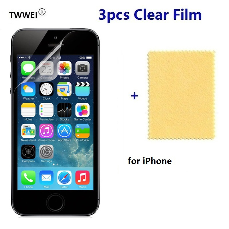 3x Protective Clear Screen Protector <font><b>Film</b></font> For <font><b>iPhone</b></font> 11 Pro XR <font><b>XS</b></font> MAX 6 7 8 6s Plus 5s 5 SE 2020 Plastic LCD Mobile Phone Cover image
