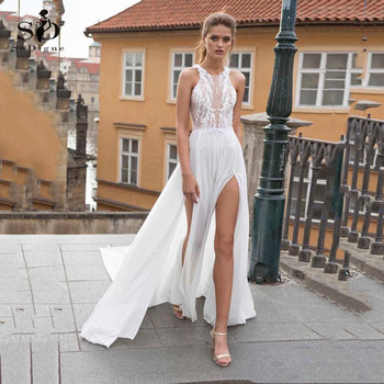 Chiffon Wedding Dresses 2020 Sexy Slit High Neck A Line 3D Floral Lace Applique Backless Bridal Dress Wedding Gown Plus Size boho wedding dress 2020 a line lace applique sexy backless bridal dress beach wedding gown plus size custom made