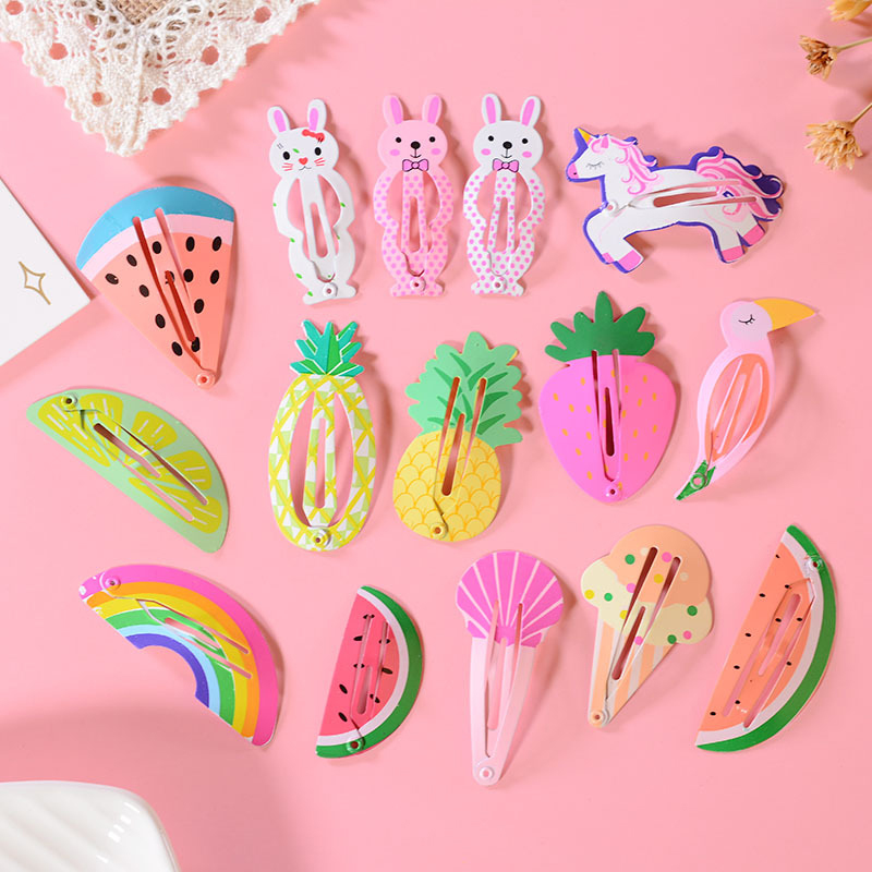 3 Pcs/lot Fruit Clips Kids Hair Accessories Pineapple Strawberry Rainbow Cute Hair Clip Baking Paint Headwear Wholesale Hot Sale