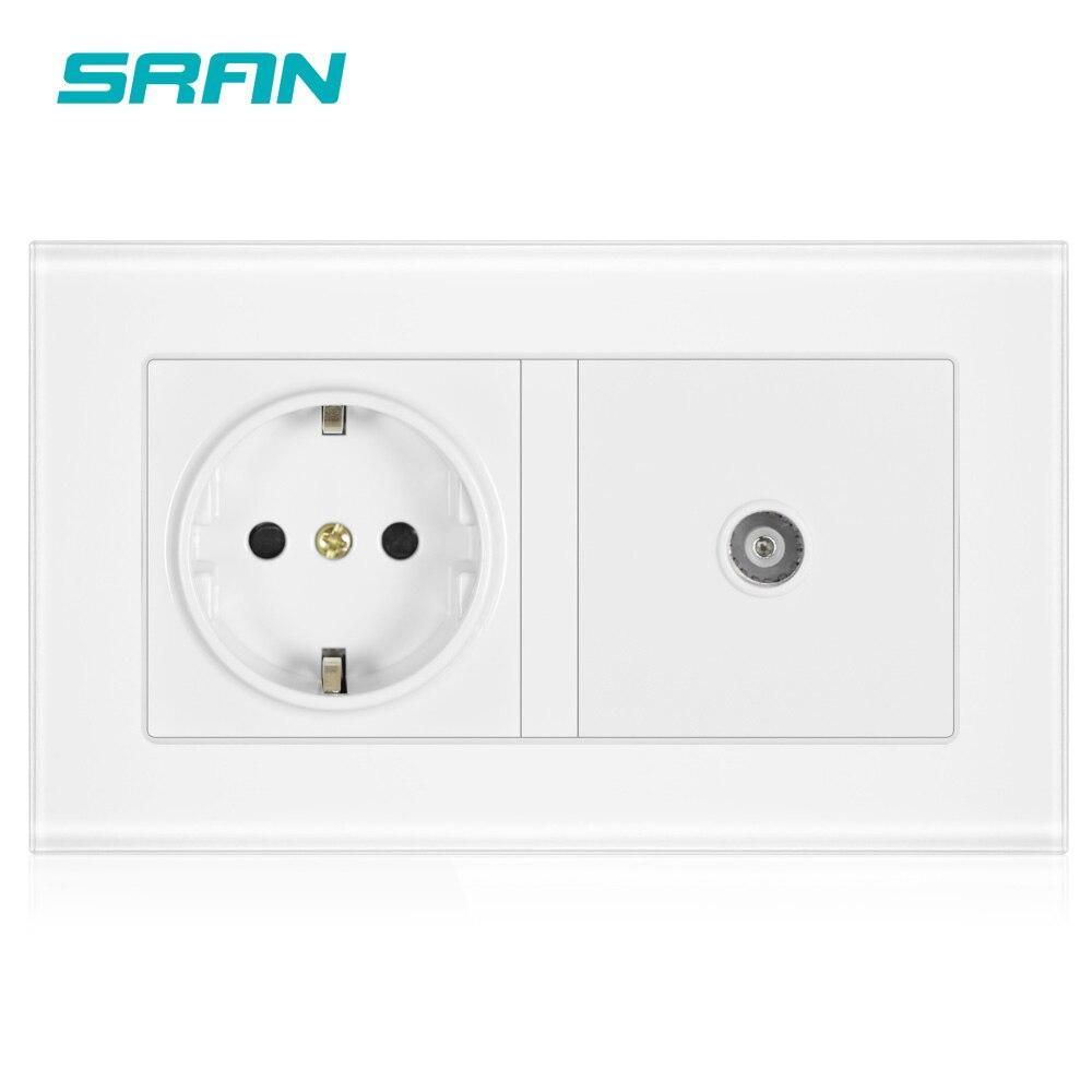 SRAN 16A rosja hiszpania standardowe gniazdo zasilania ue uziemione z żeńskim gniazdem TV gniazdko wtyczki Panel ze szkła hartowanego