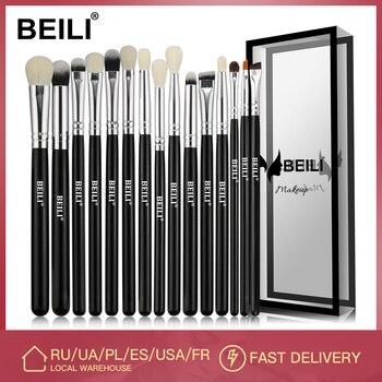 BEILI Black 15-18Pcs Makeup brushes Natural Goat Pony hair Eye shadow Blending Eyeliner Eyebrow Smokey shade brush set