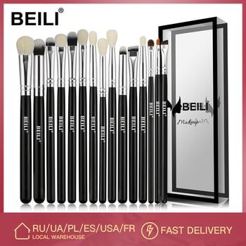 BEILI Black 15Pcs Makeup brushes Natural Goat Pony hair Eye shadow Blending Eyeliner Eyebrow Smokey shade brush set