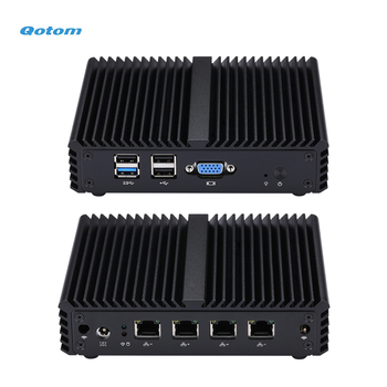 Qotom Mini PC Q190G4N with 4 Gigabit LAN Ports to Build Firewall Router, Fanless Quad core Mini PC Bay Trail j1900 2.42 GHz