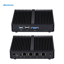 Qotom Mini PC Q190G4N with 4 Gigabit LAN Ports to Build Firewall Router, Fanless Quad core Mini PC Bay Trail j1900 2.42 GHz