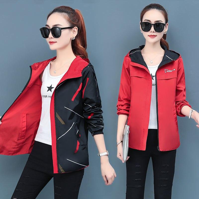 Women Jackets Spring Autumn Hooded Jacket Double Side Wear Coats And Jackets Women Print Plus Size Women Jacket Spring Outwears