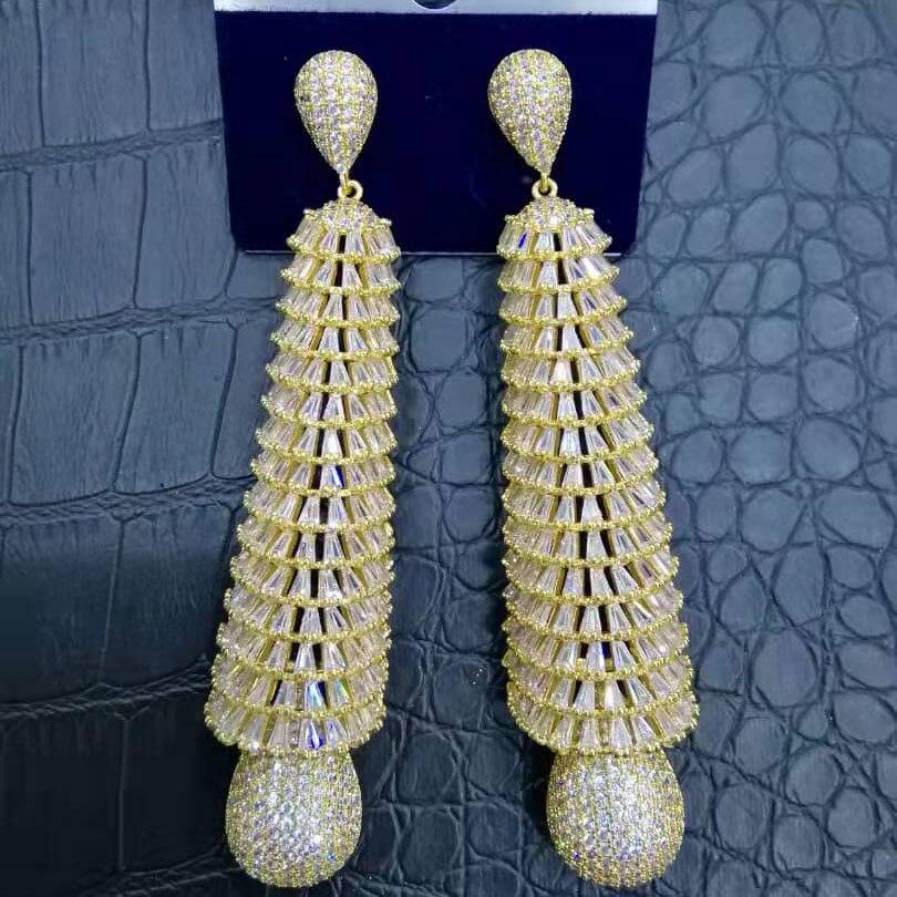 Image 2 - GODKI Luxury Baguette Cut CZ Long Earrings Full Mirco Paved Cubic  Zircon Naija Dubai Wedding Earring Fashion High End JewelryDrop  Earrings