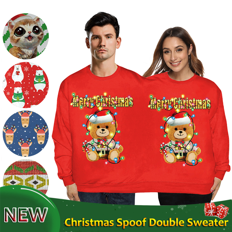 Double People Wear Sweater Christmas Costumes Red Green Festival Outfit Couples Conjoined Round Neck Bodysuit Rave Wear VDB1172