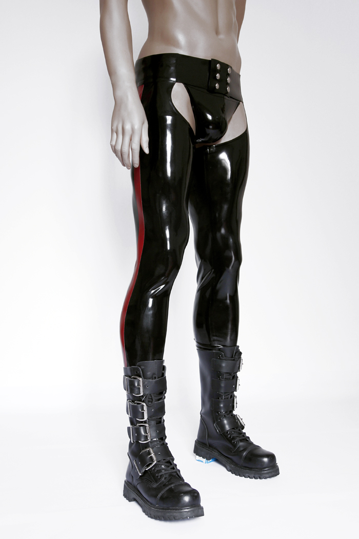 Latex serré Chaps Sexy Latex caoutchouc pantalon pantalons longs hommes Sexy Latex pantalon (pas de slips)