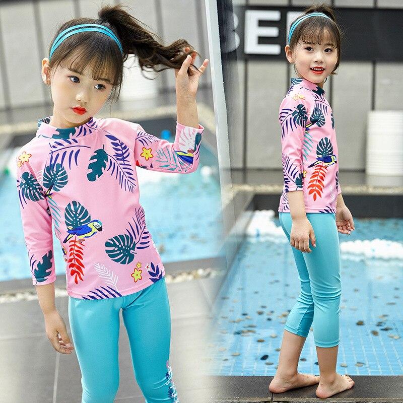 South Korea New Style CHILDREN'S Swimwear Boys And Girls Children Split Type Long Sleeve Sun-resistant Siblings Babies' Trousers