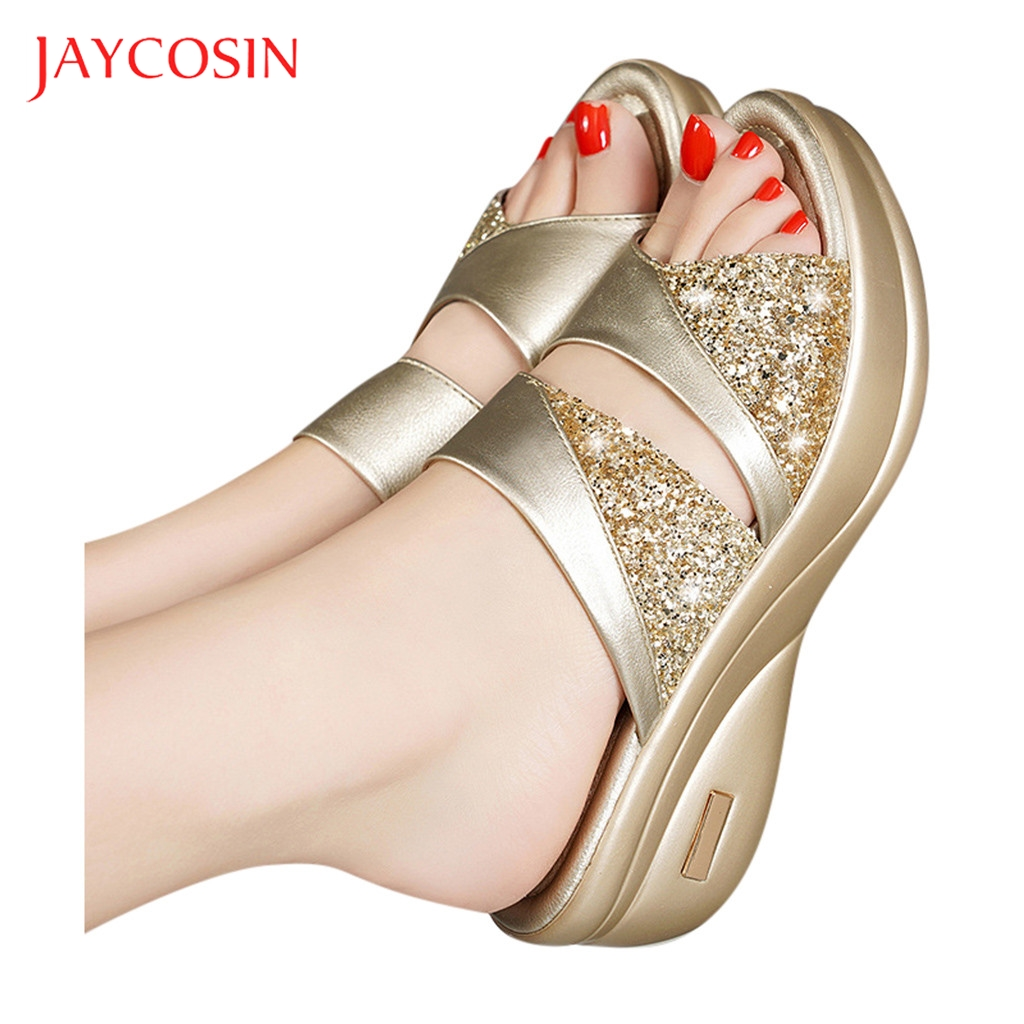 JAYCOSIN Flip Flops Women Slippers Summer Wedge Peep Toe Casual Wedge Platform Shoes Ladies Sandals Beach shoes woman sandals 12 1