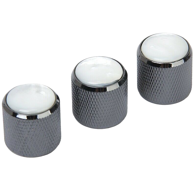 3Pcs Domed Volume Tone Control Knob For Electric Guitar - Black With White